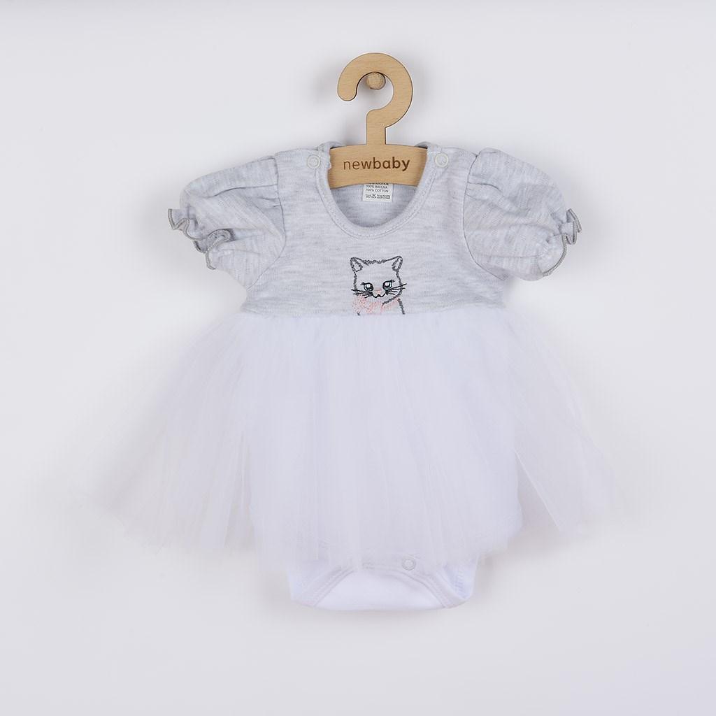 Dojčenské body s tylovou sukienkou New Baby Wonderful sivé-56 (0-3m)