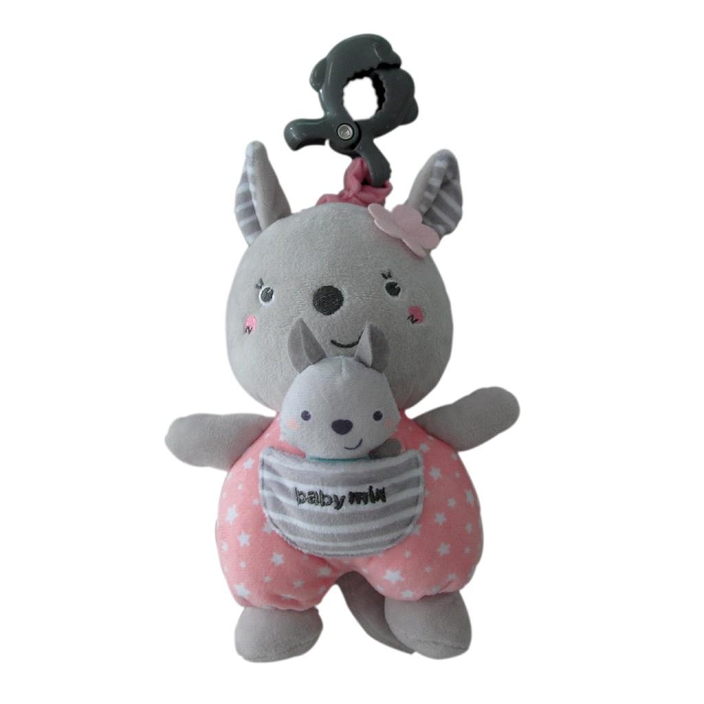 Edukačná hrajúca plyšová hračka s klipom Baby Mix kengura