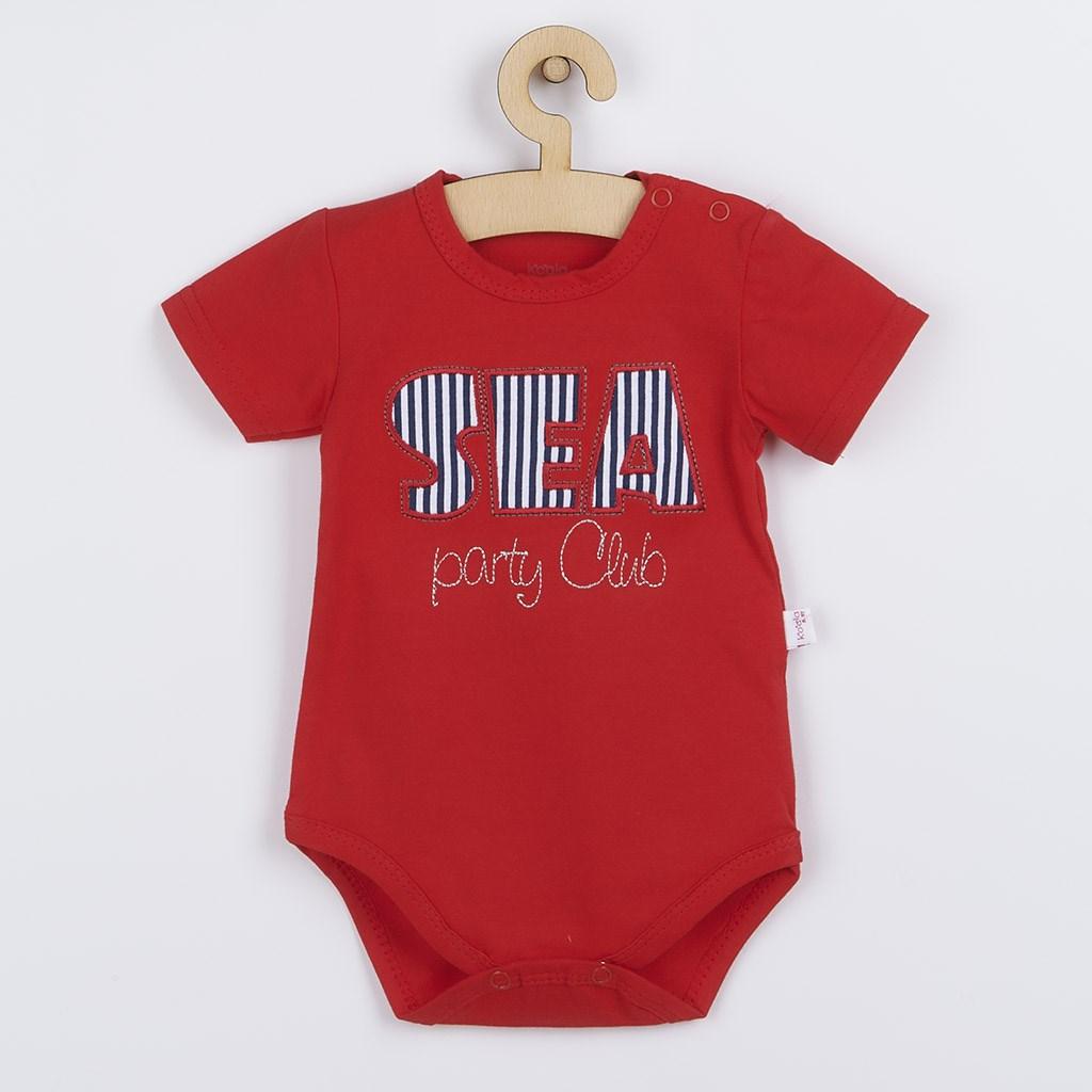 Dojčenské letné body Koala Sea Party červené-62 (3-6m)