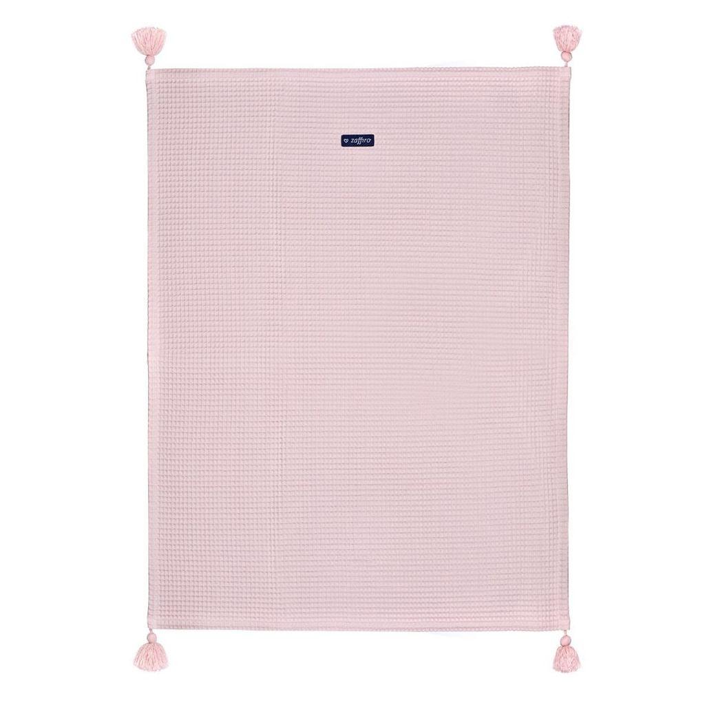 Detská bavlnená deka vafle Womar 75x100 ružová