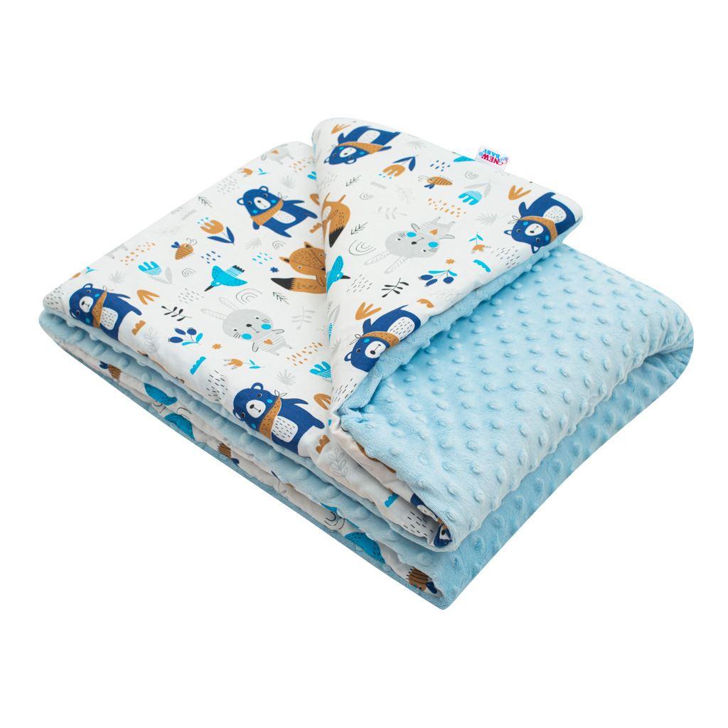Detská deka z Minky s výplňou New Baby Medvedíkovia modrá 80x102 cm