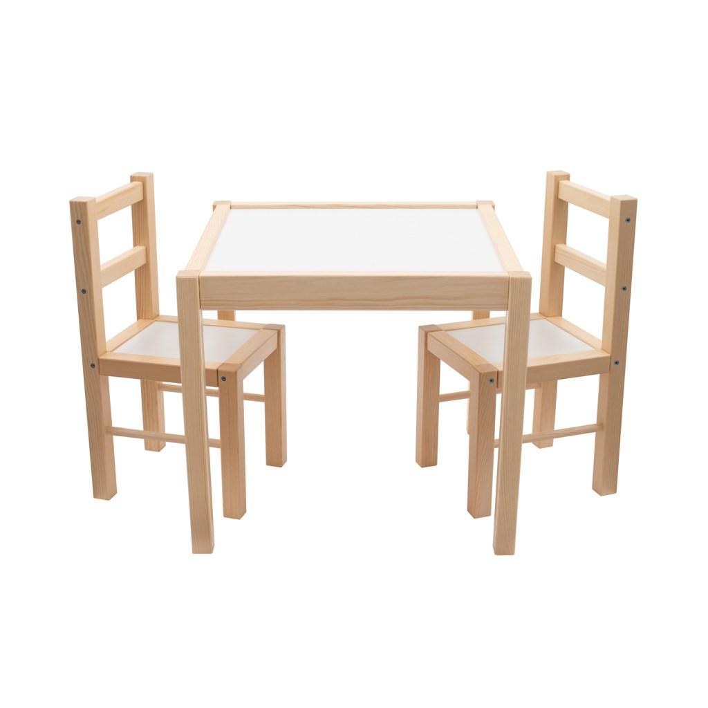 Detský drevený stôl so stoličkami New Baby PRIMA prírodný