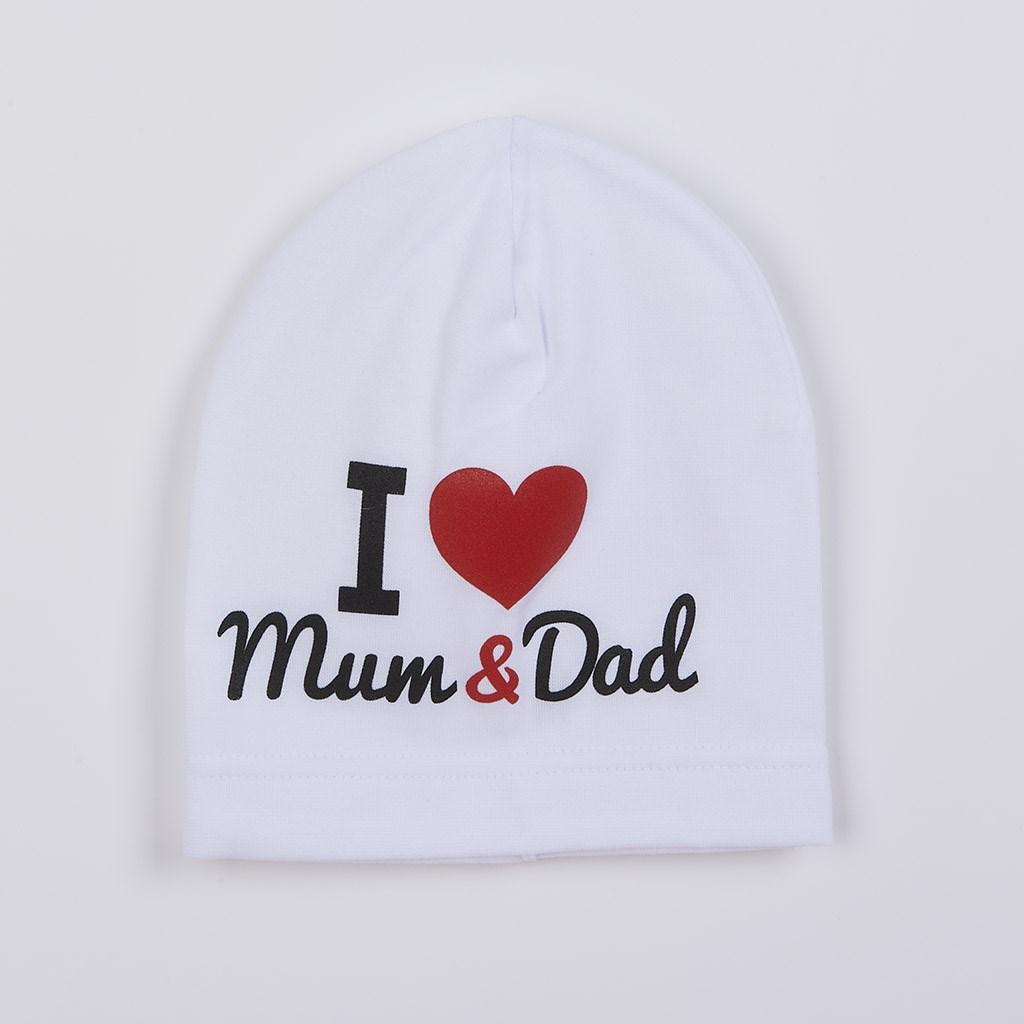 Detská čiapočka New Baby I Love Mum and Dad biela
