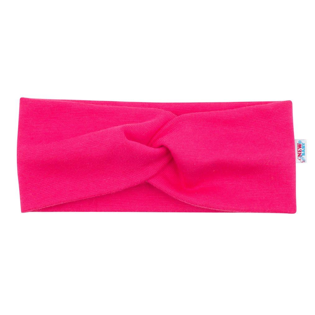 Dojčenská čelenka New Baby Style tmavo ružová 37 cm