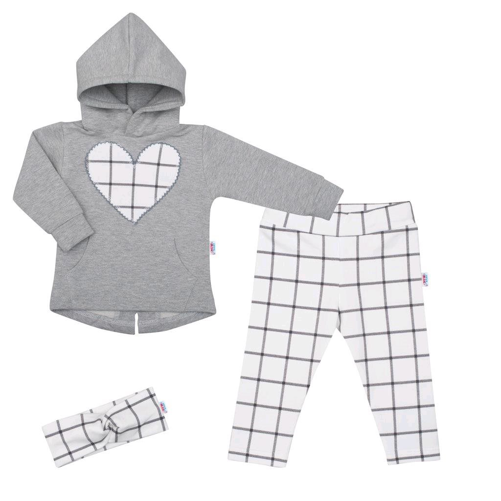3-dielna dievčeská bavlnená súprava New Baby Cool Girls sivo-biela-80 (9-12m)