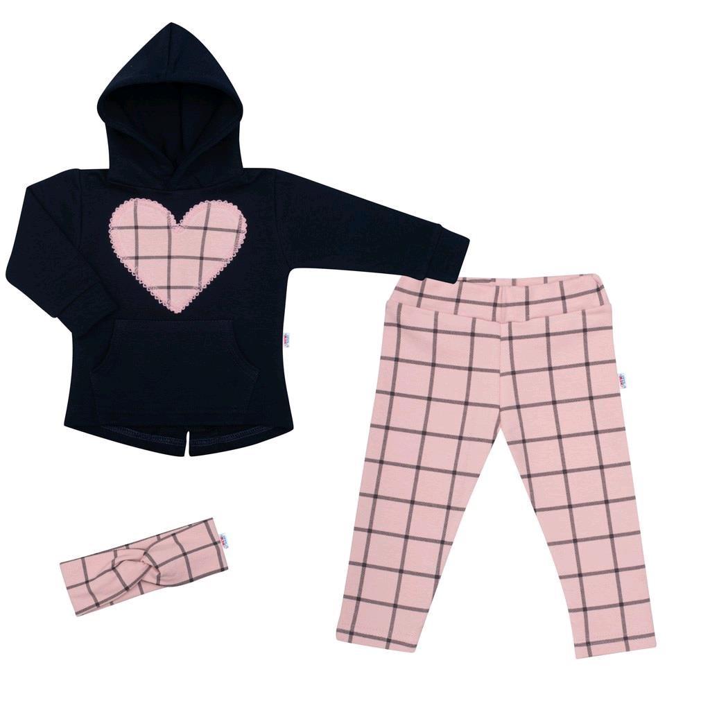 3-dielna dievčeská bavlnená súprava New Baby Cool Girls modro-ružová-80 (9-12m)