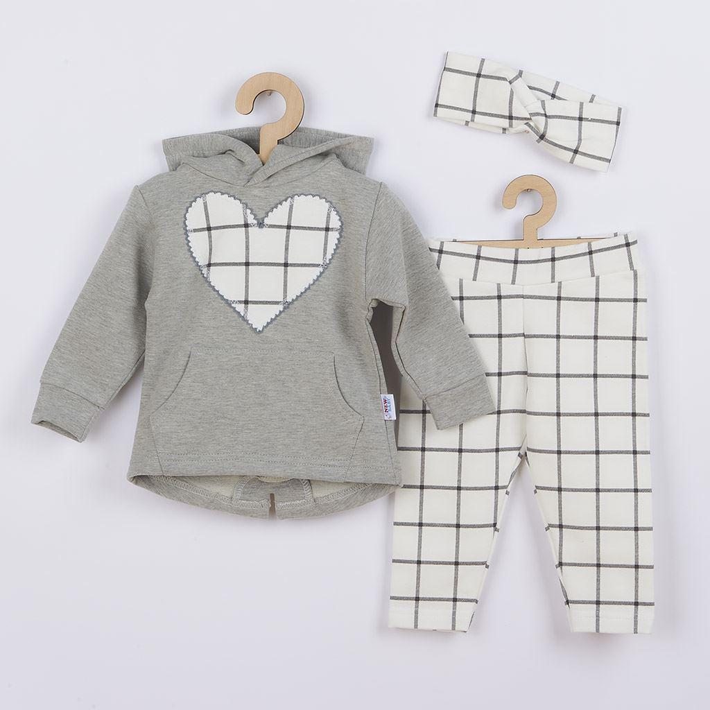 3-dielna dievčeská bavlnená súprava New Baby Cool Girls sivo-biela-86 (12-18m)