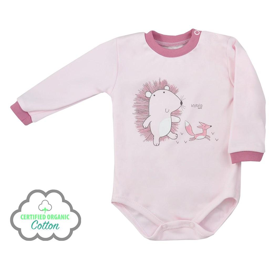 Dojčenské body s dlhým rukávom z organickej bavlny Koala Lesný Priateľ ružové