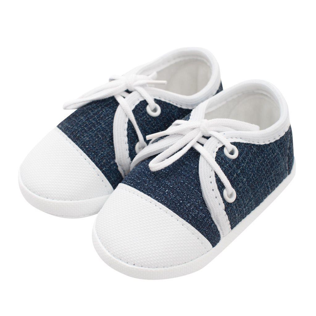Dojčenské capačky tenisky New Baby jeans modré 0-3 m