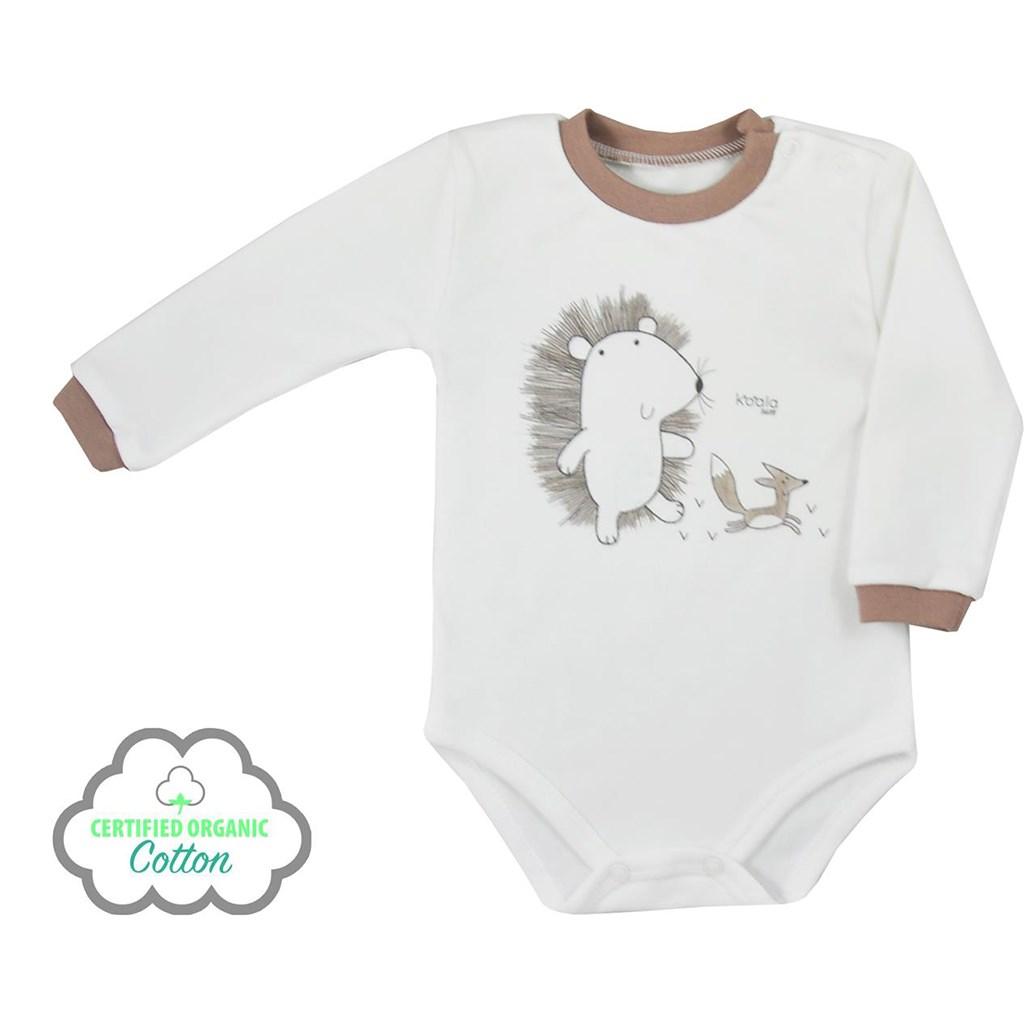 Dojčenské body s dlhým rukávom z organickej bavlny Koala Lesný Priateľ béžové