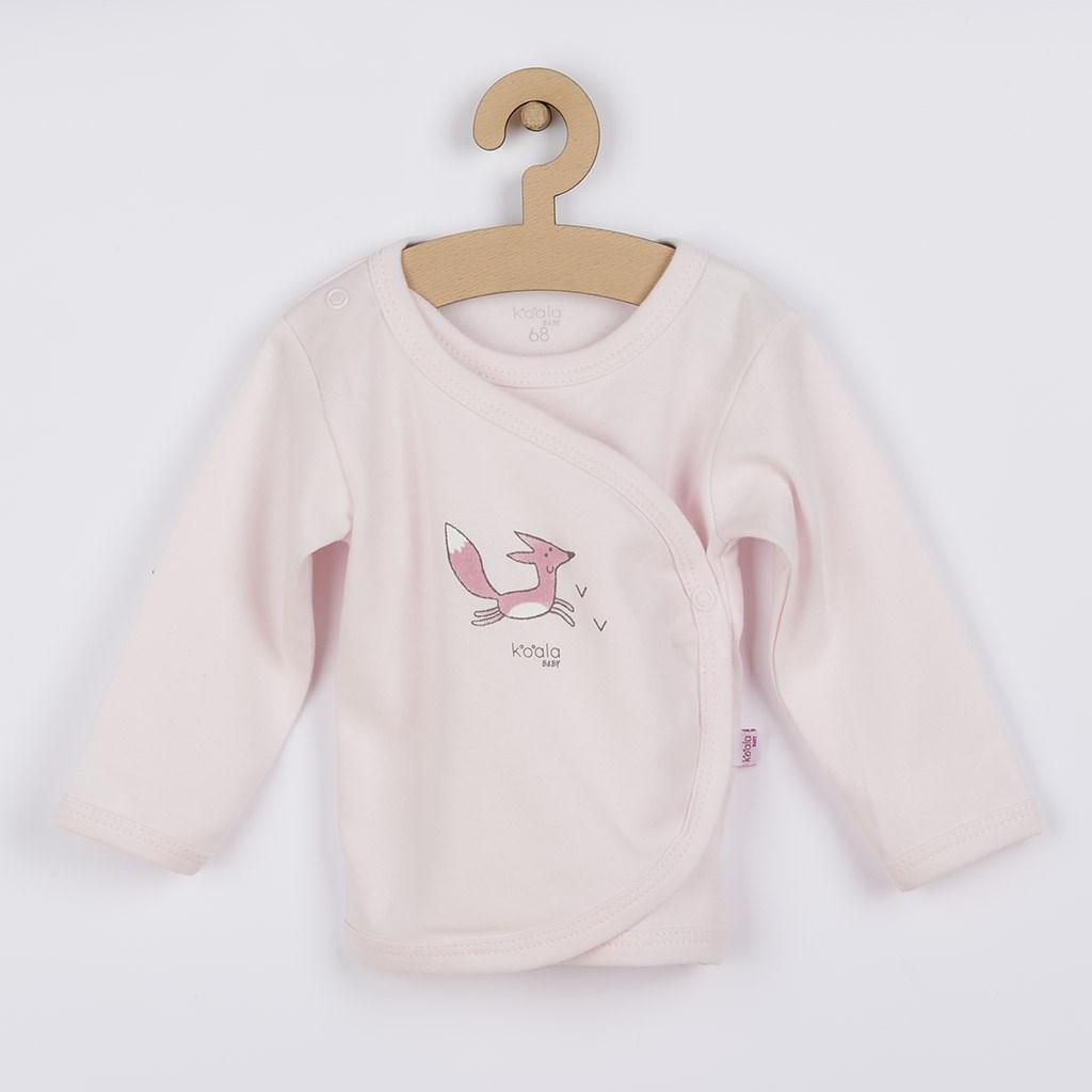 Dojčenská košieľka z organickej bavlny Koala Lesný Priateľ ružová
