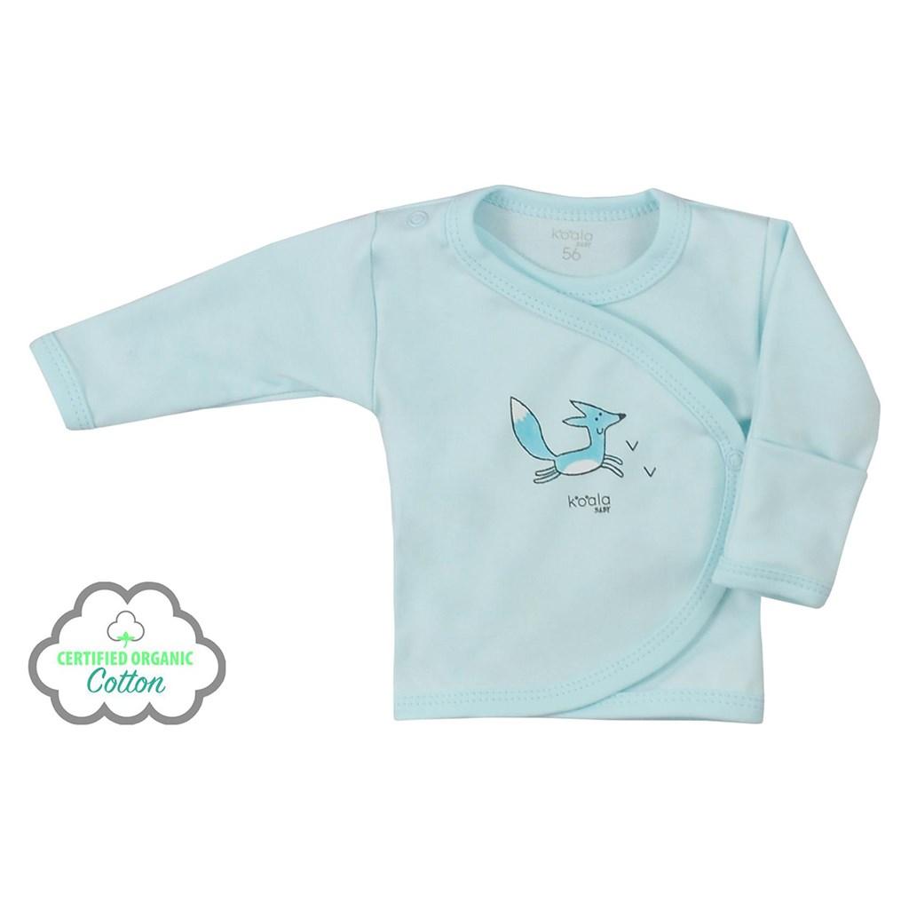 Dojčenská košieľka z organickej bavlny Koala Lesný Priateľ modrá-62 (3-6m)