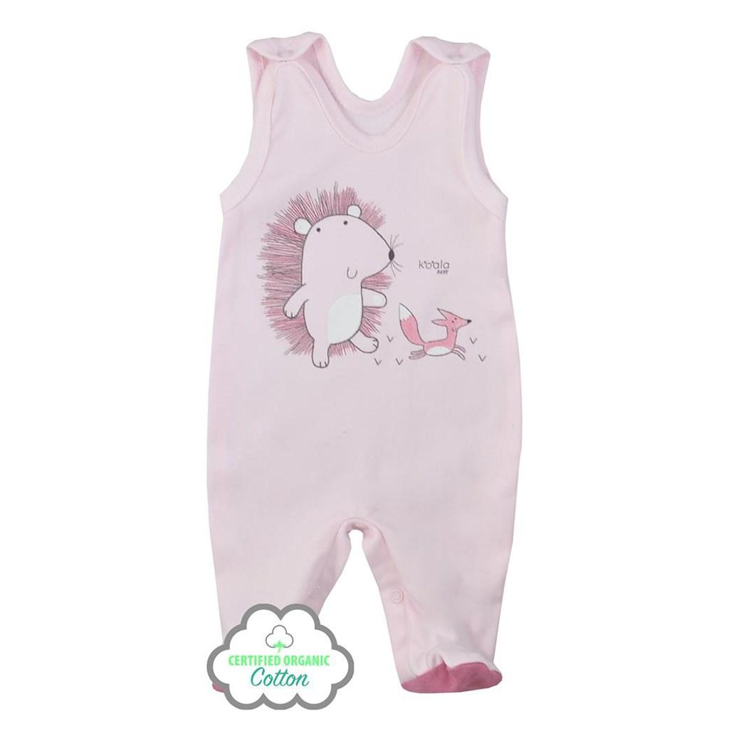 Dojčenské dupačky z organickej bavlny Koala Lesný Priateľ ružové-68 (4-6m)