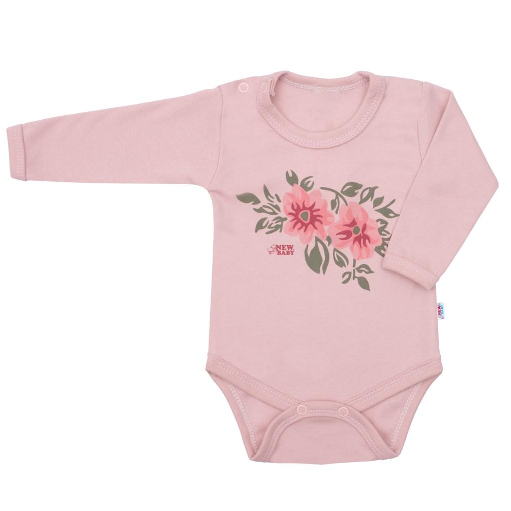Dojčenské body s dlhým rukávom New Baby Flowers ružové 62 (3-6m)