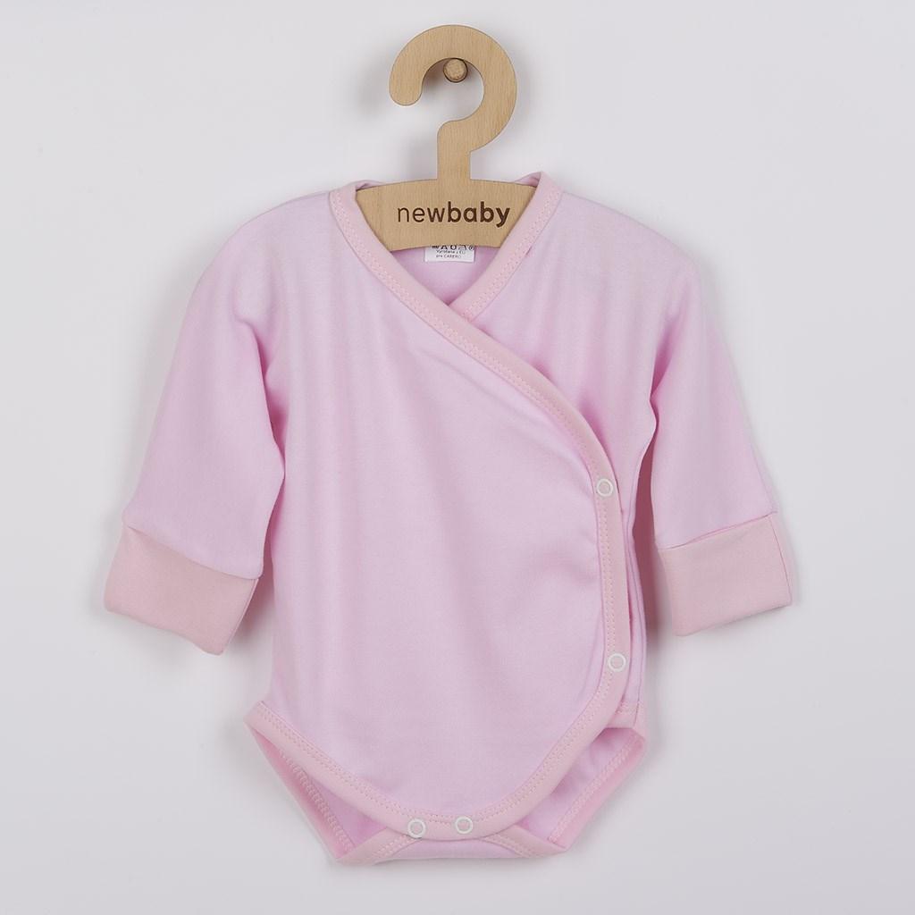 Dojčenské body s bočným zapínaním New Baby ružové