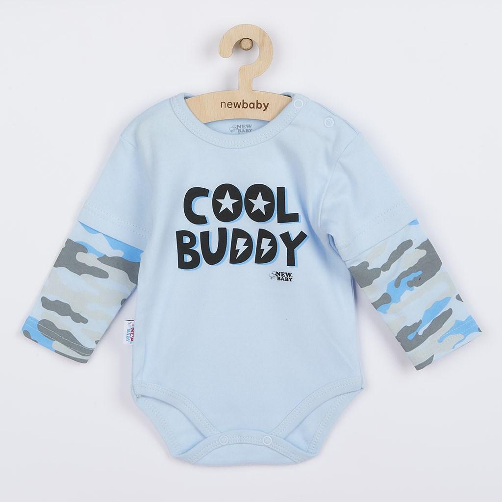 Dojčenské bavlnené body s dlhým rukávom New Baby With Love modré