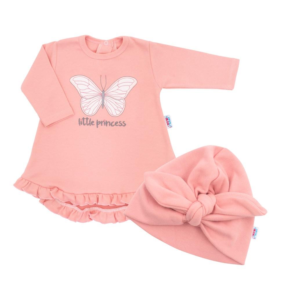 Dojčenské šatôčky s čiapočkou-turban New Baby Little Princess ružové-80 (9-12m)