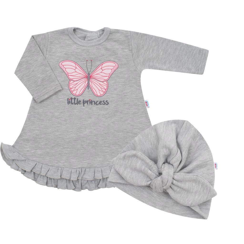 Dojčenské šatôčky s čiapočkou-turban New Baby Little Princess sivé-80 (9-12m)