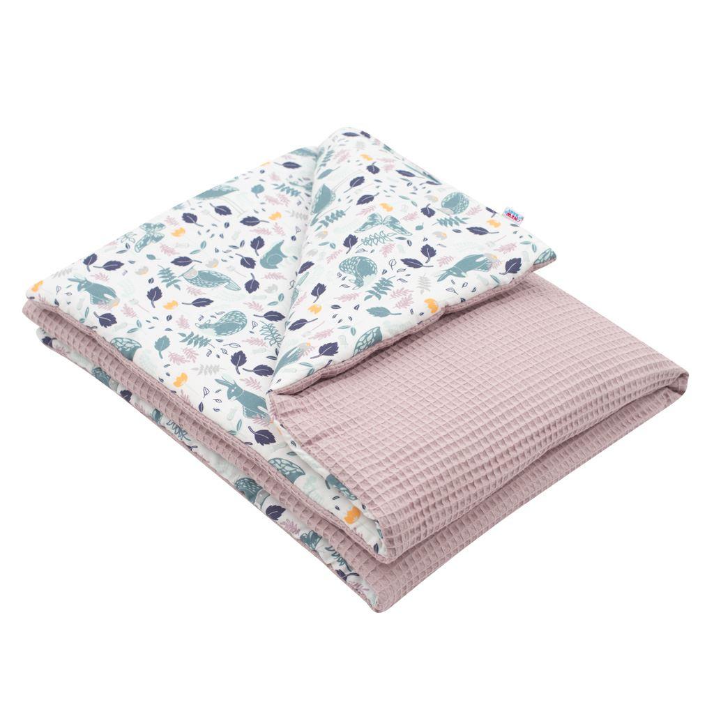 Detská deka s výplňou New Baby Vafle fialová králičky 80x102 cm