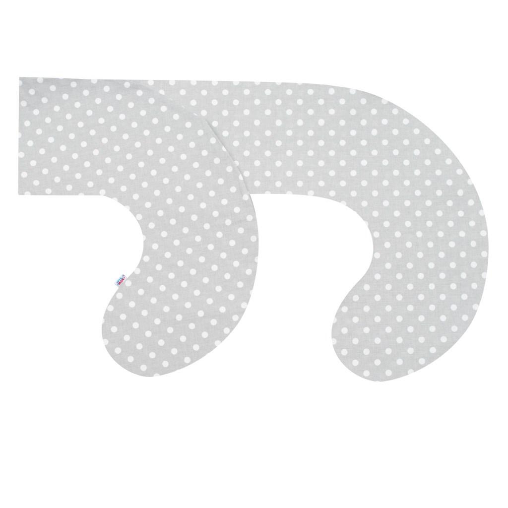 Obliečka na dojčiaci vankúš v tvare C New Baby XL sivý s bodkami