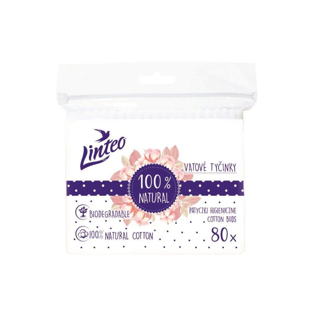 Papierové vatové tyčinky 100% natural Linteo 80 ks vo vrecku