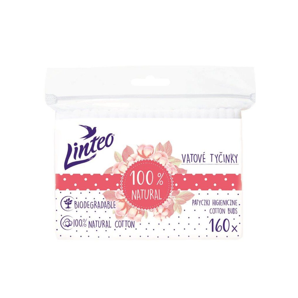 Papierové vatové tyčinky 100% natural Linteo 160 ks vo vrecku