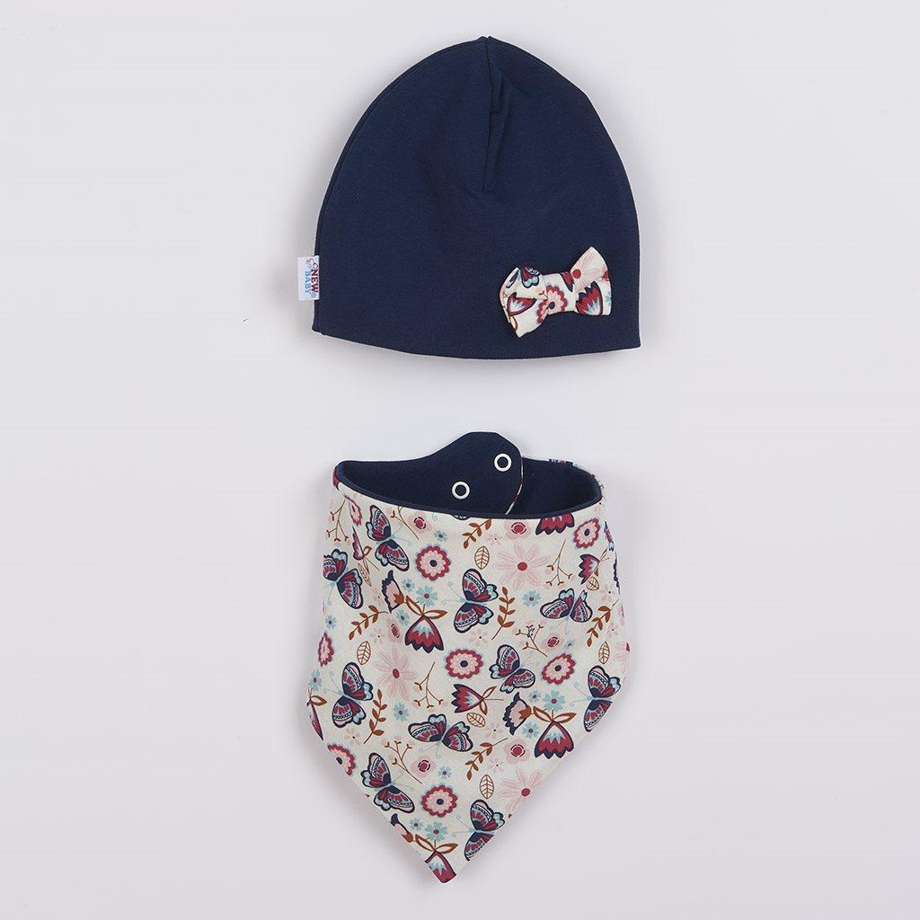 Dojčenská čiapočka s šatkou na krk New Baby Missy modrá 62 (3-6m)