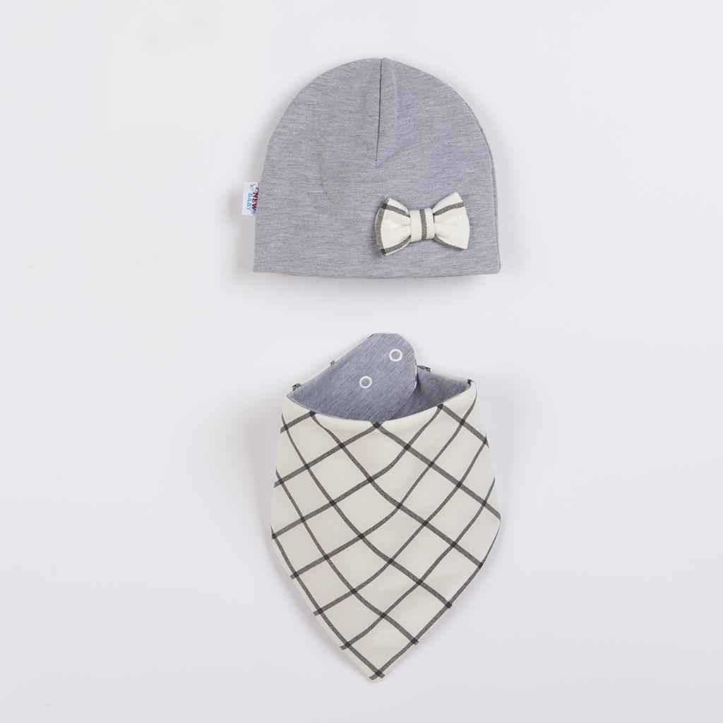 Dojčenská čiapočka s šatkou na krk New Baby Missy sivá 80 (9-12m)