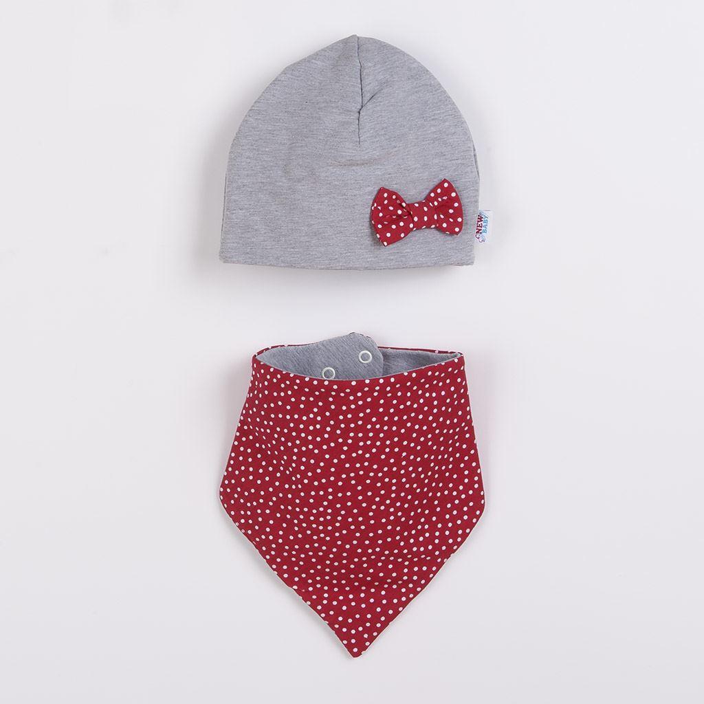 Dojčenská čiapočka s šatkou na krk New Baby Missy sivo-červená 80 (9-12m)