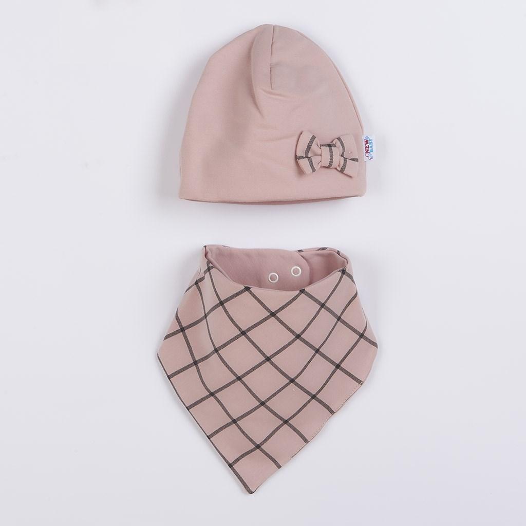 Dojčenská čiapočka s šatkou na krk New Baby Missy ružová 86 (12-18m)