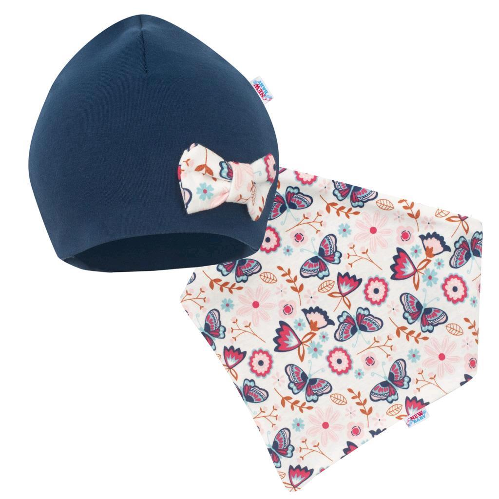 Dojčenská čiapočka s šatkou na krk New Baby Missy modrá 86 (12-18m)
