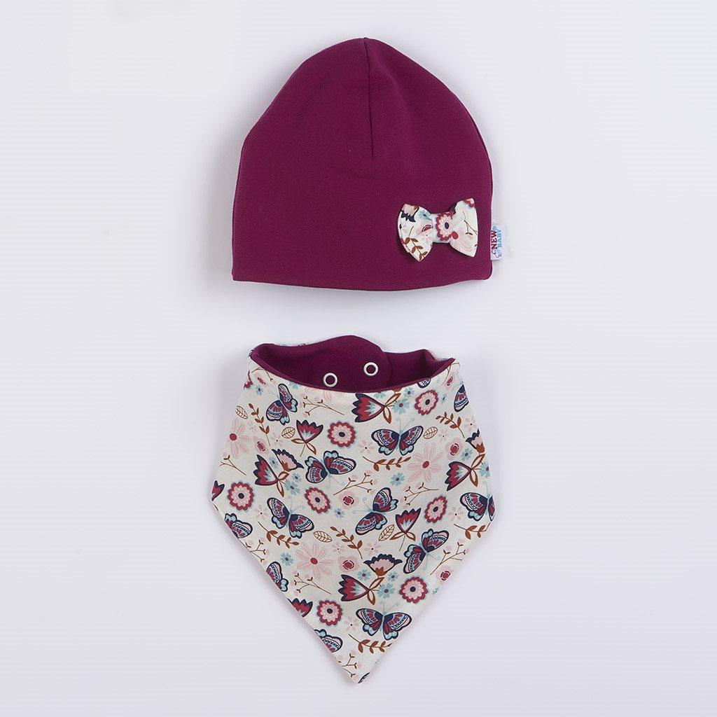 Dojčenská čiapočka s šatkou na krk New Baby Missy fialová-92 (18-24m)