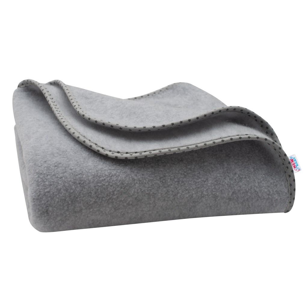 Detská fleecová deka New Baby 100x75 sivá hviezdičky