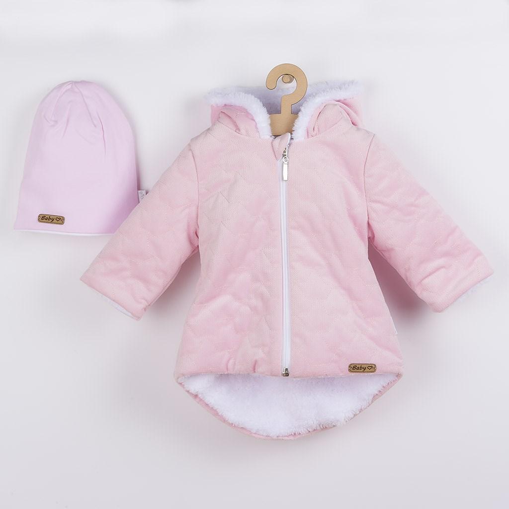 Zimný dojčenský kabátik s čiapočkou Nicol Kids Winter ružový-56 (0-3m)
