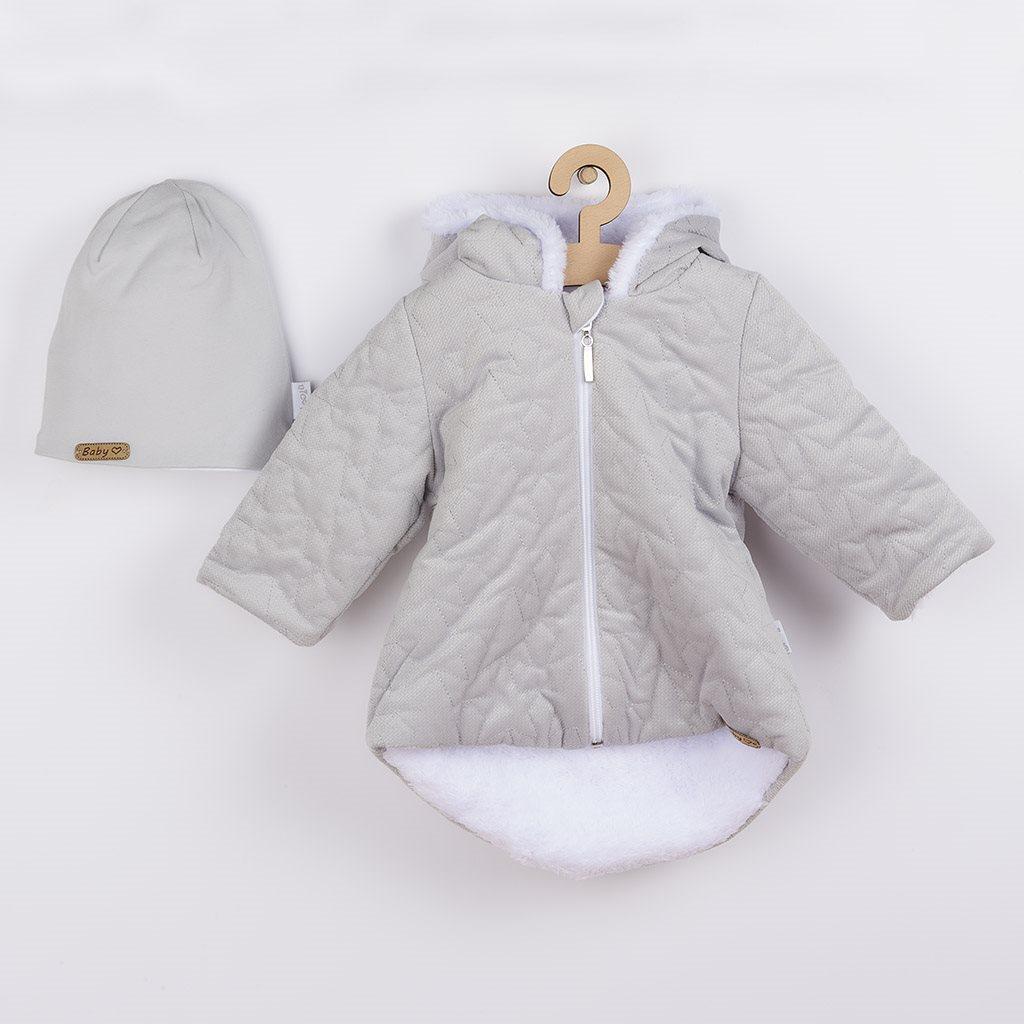 Zimný dojčenský kabátik s čiapočkou Nicol Kids Winter sivý-56 (0-3m)
