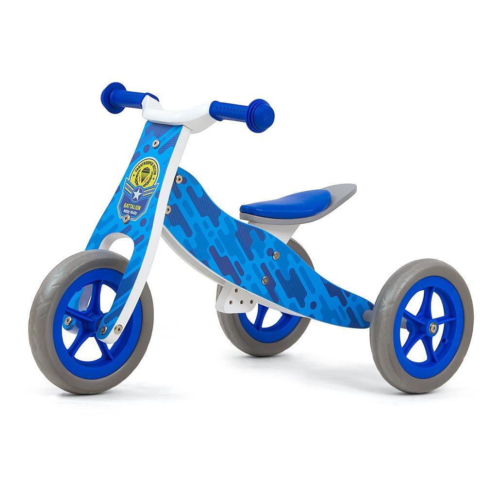Detské multifunkčné odrážadlo 2v1 Milly Mally Look Blue Army, Modrá