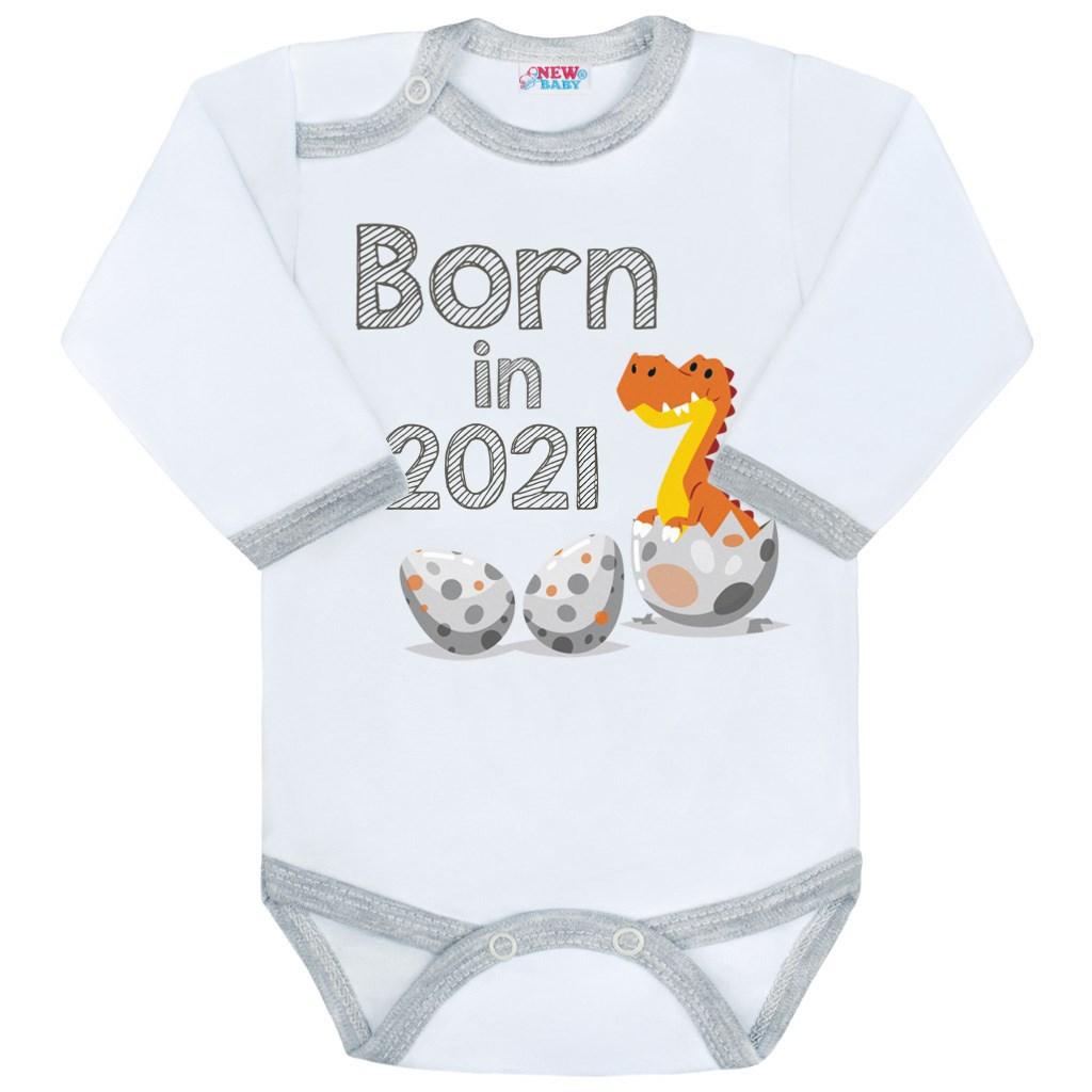Body s potlačou New Baby Born in 2021 sivo-biele