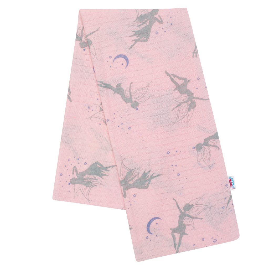 Bavlnená plienka s potlačou New Baby rúžová víly