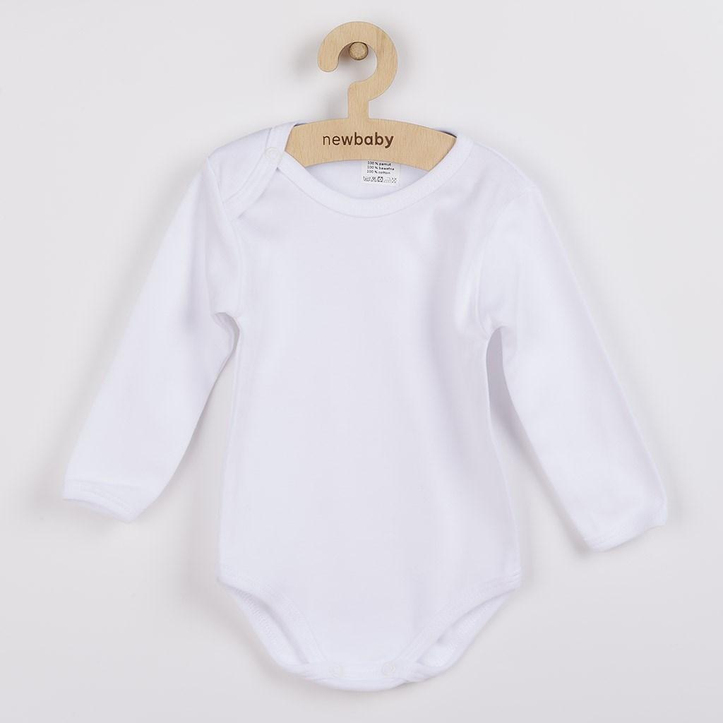 Luxusné bavlnené body dlhý rukáv New Baby - biele