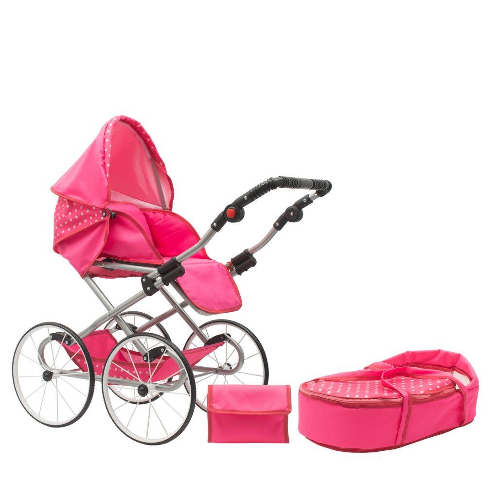 Detský Retro kočík pre bábiky 2v1 New Baby Anetka rúžový s bodkami