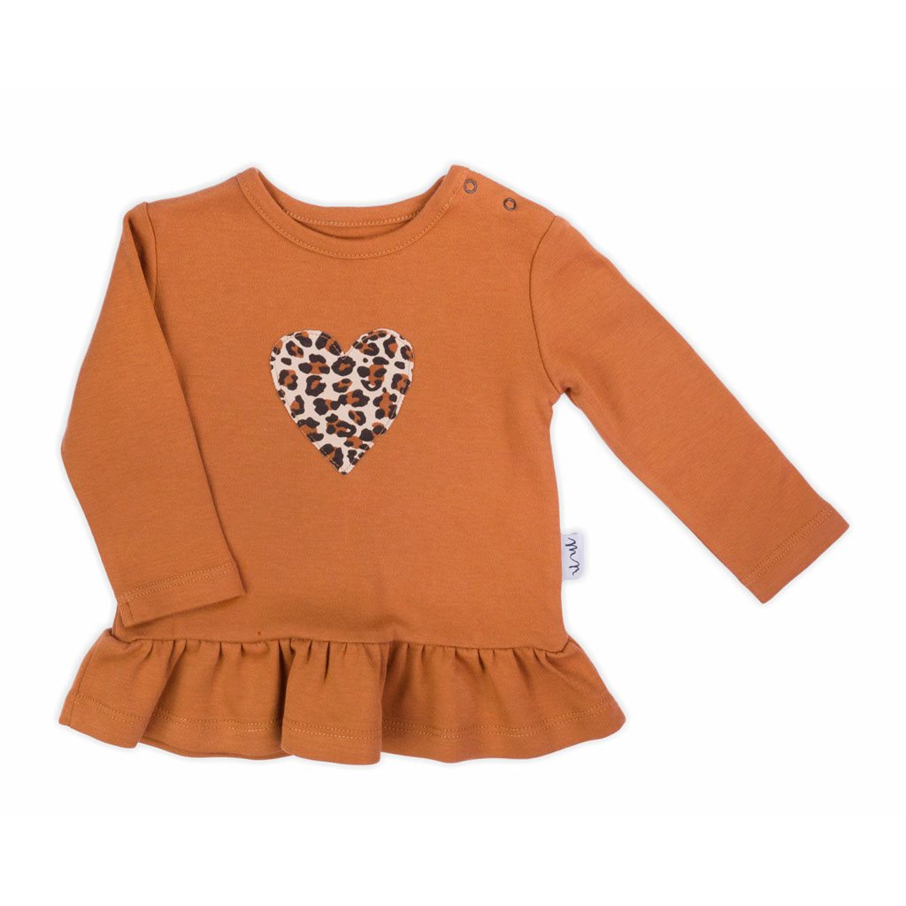 Dojčenské bavlnené tričko Nicol Mia hnedé-68 (4-6m)
