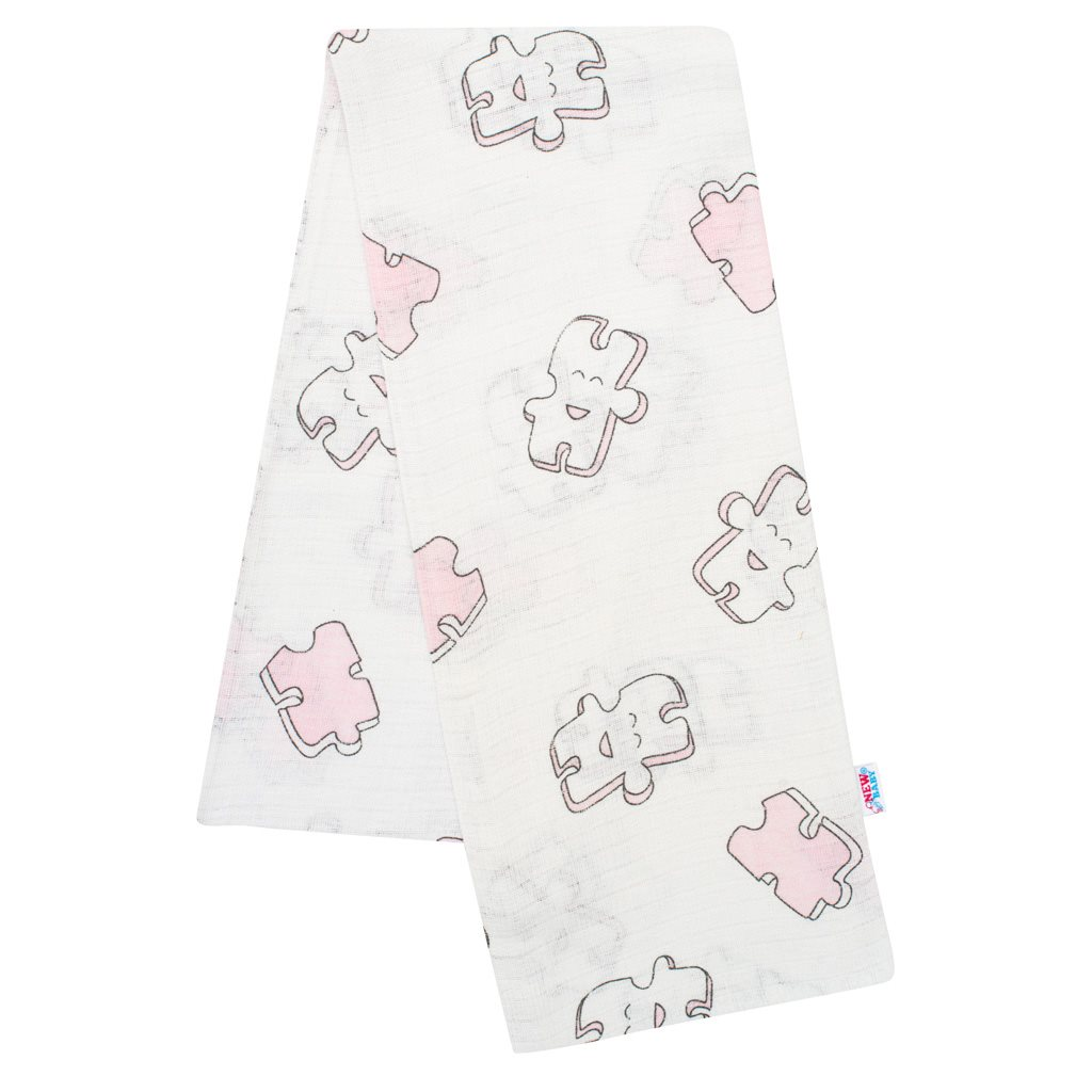 Bavlnená plienka s potlačou New Baby biela puzzle rúžové