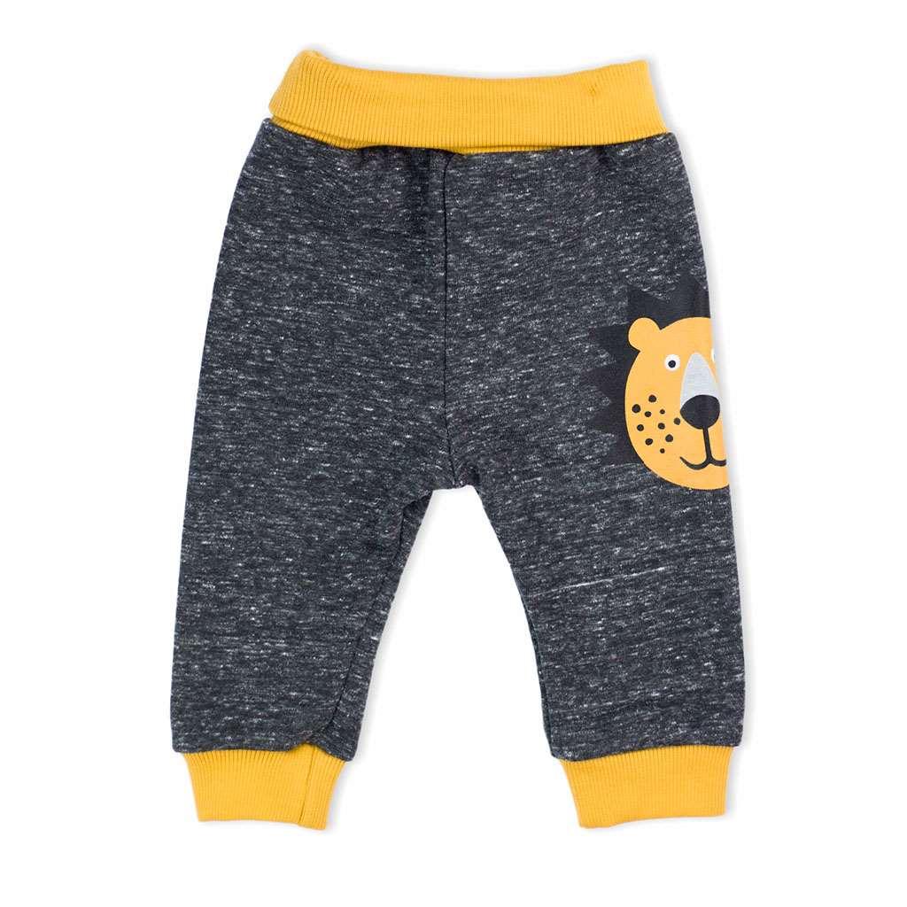 Dojčenské bavlnené tepláčky Nicol Prince Lion melírované sivé-56 (0-3m)