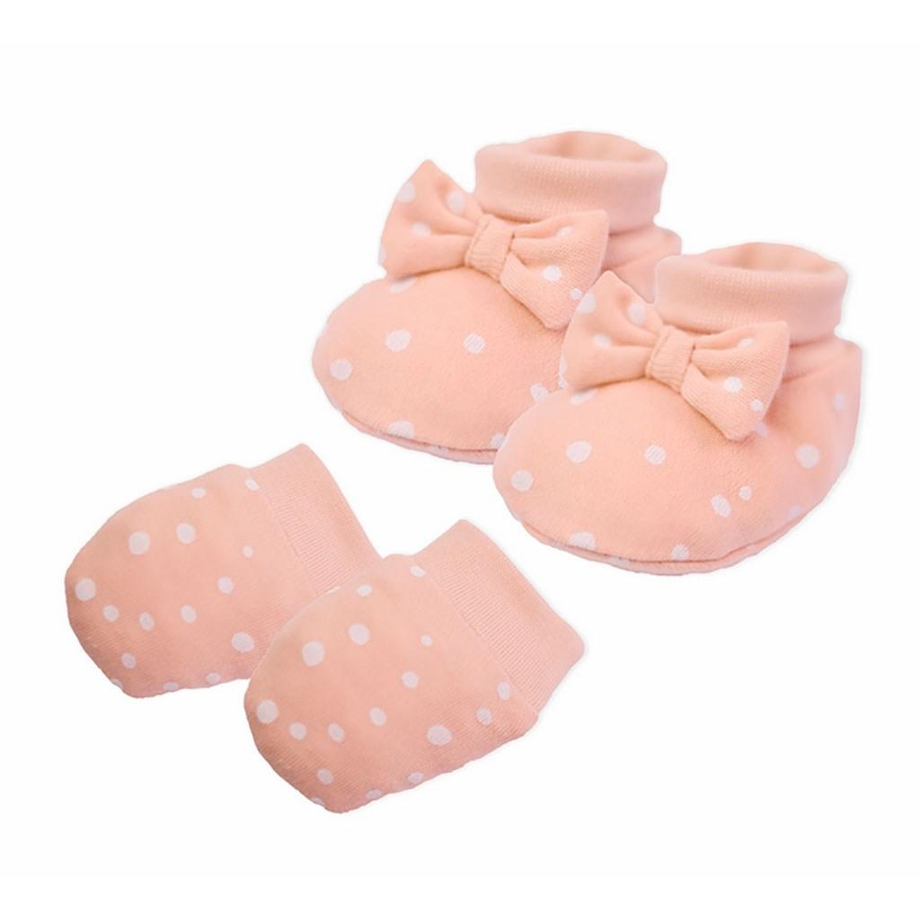 Dojčenský bavlnený set-capačky a rukavičky Nicol Rainbow ružový