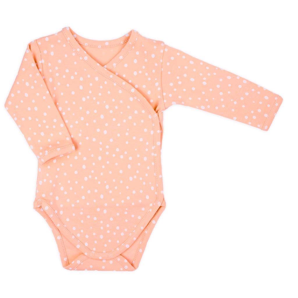 Dojčenské bavlnené body s bočným zapínaním Nicol Rainbow ružové