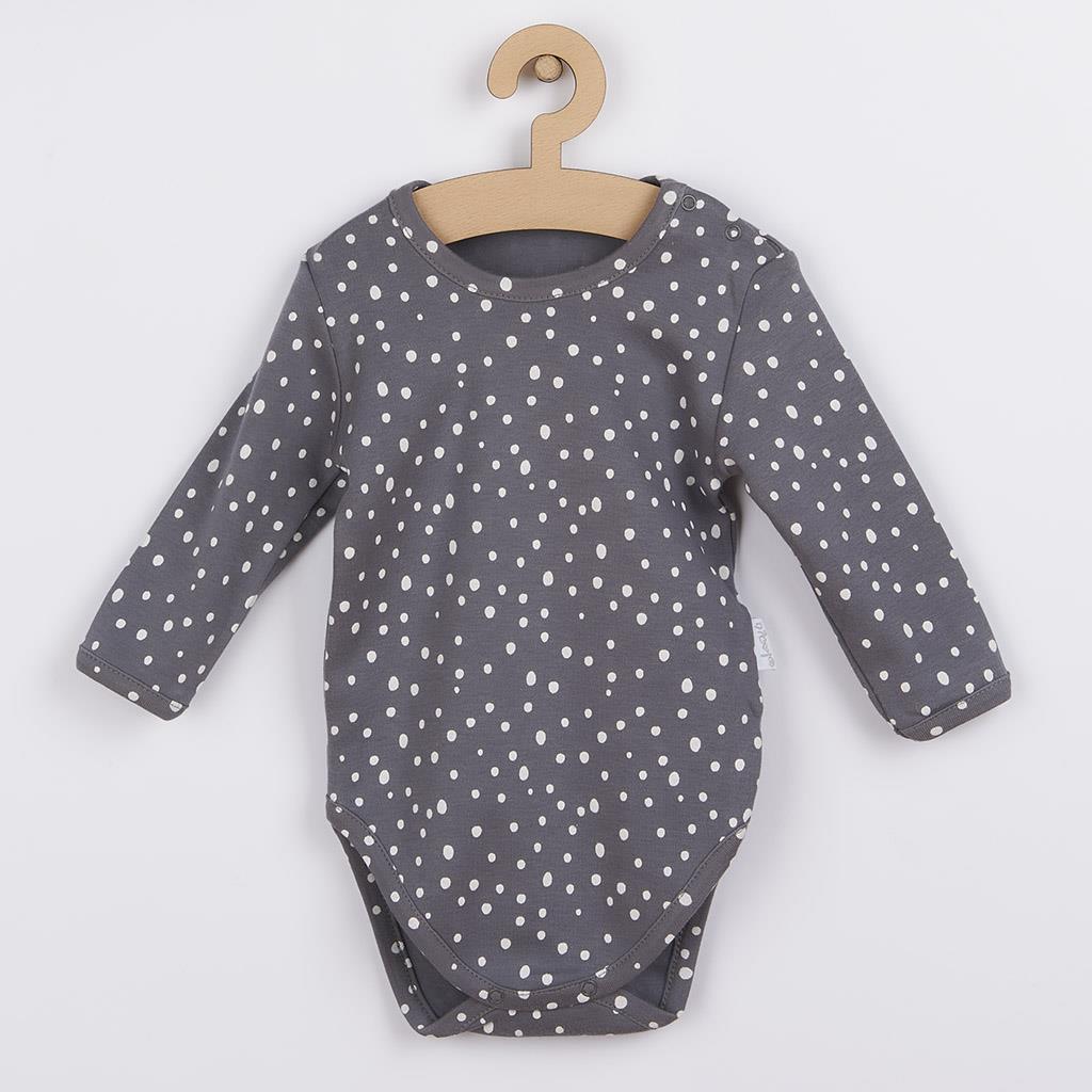 Dojčenské bavlnené body s bočným zapínaním Nicol Rainbow sivé 62 (3-6m)