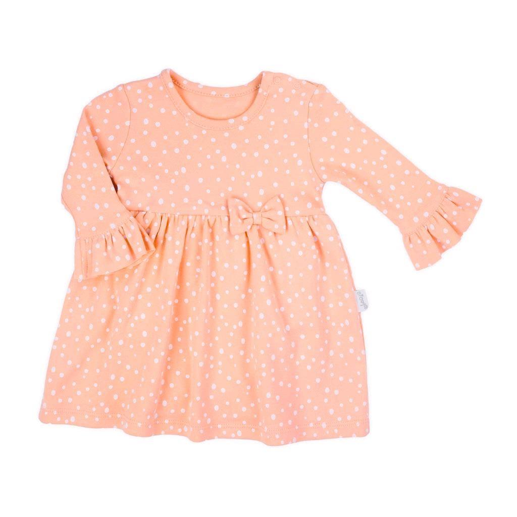 Dojčenské šatôčky-body s dlhým rukávom Nicol Rainbow ružové-80 (9-12m)
