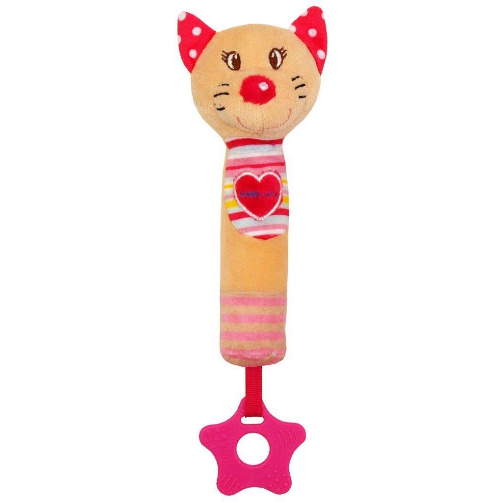 Detská pískacia plyšová hračka s hryzátkom Baby Mix mačka