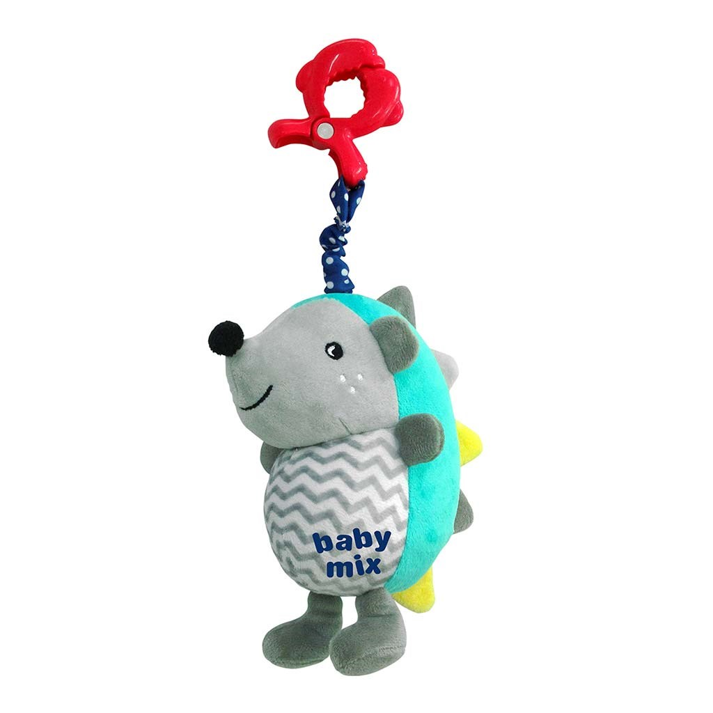 Detská plyšová hračka s hracím strojčekom Baby Mix Ježko modro-sivý
