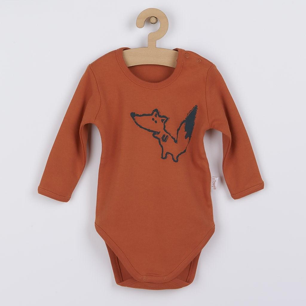 Dojčenské body s dlhým rukávom  Nicol  Fox Club oranžové